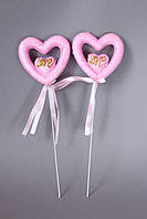 "Сердце на палочке розового цвета  ""Love"" блестящее 8 х 8 см"