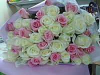 """Букет из белых и розовых роз""""Зефирное счастье"""""""