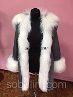 Парка женская с мехом лисы, верх плотный джинс, утеплитель испанский кролик, размеры M,L