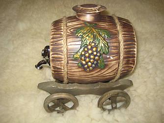 Бочка керамическая на деревянных колесиках