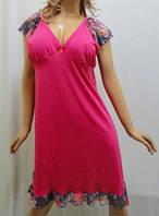 Ночная рубашка, сорочка, ночнушка, туника женская хлопок с гипюром малиновый