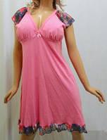 Ночная рубашка, сорочка, ночнушка, туника женская хлопок с гипюром розовый