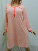 Ночная сорочка, рубашка, сорочка, ночнушка женская на байке с длинным рукавом.
