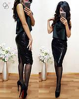 Женский нарядный костюм: блуза и юбка (3 цвета)