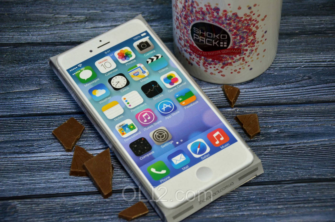 """Шоколадка шоколадная плитка на подарок ПЛИТКА """"IPHONE БЕЛЫЙ"""""""
