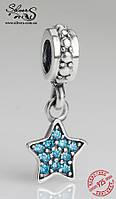 """Серебряная подвеска-шарм Пандора (Pandora) """"Голубая звезда"""" для браслета"""