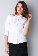 Блуза белая офисная с рукавом 3/4, воротник - рубашечный Р101