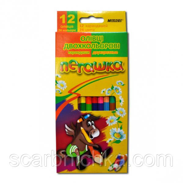 """Карандаши """"Marco"""" 12 цветов двухцветные №1011 """"Пегашка"""""""