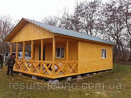 Дачный домик 6м х 6м.Фальшбрус с террассой
