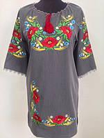 Женское вышитое платье Вероника   большого размера  42,  44, 46, 48, 50, 52, 54, 56 из котона