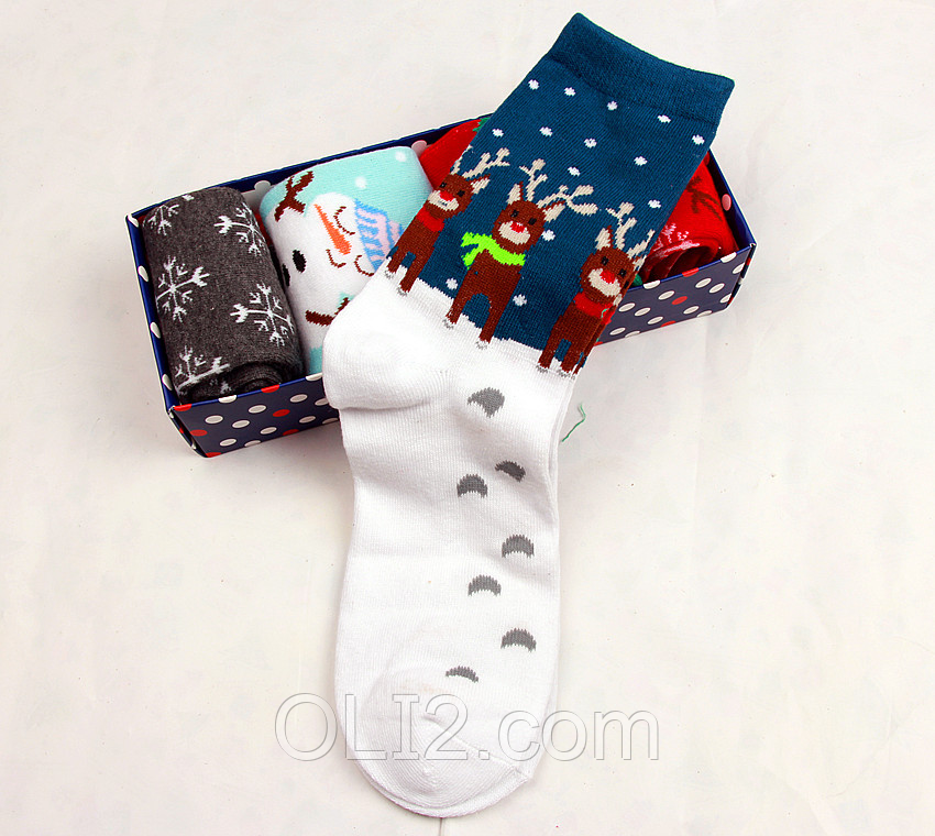 Мужские рождественские новогодние носки с оленями подарок