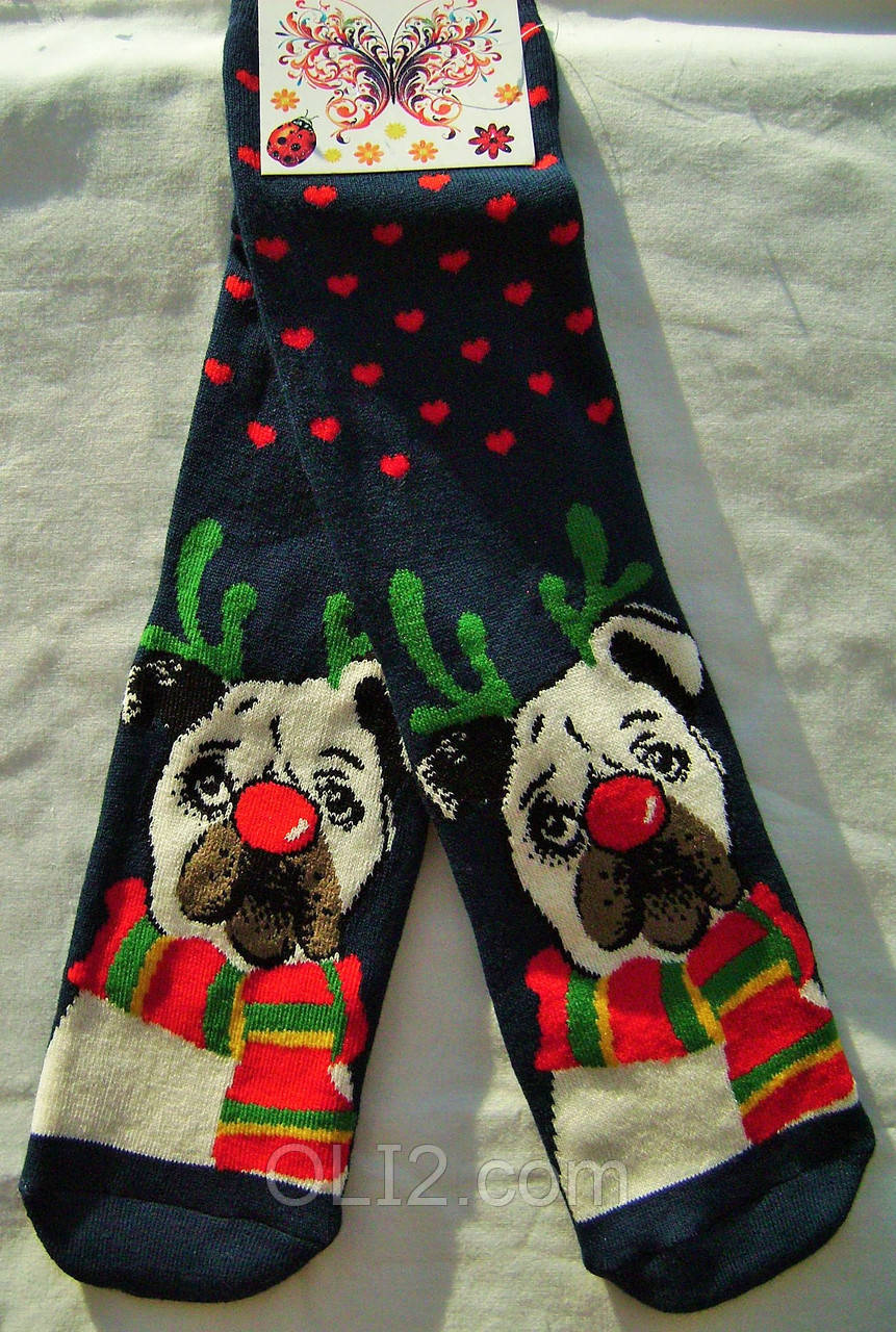 Женские рождественские носки на подарок махровые теплые на новый год
