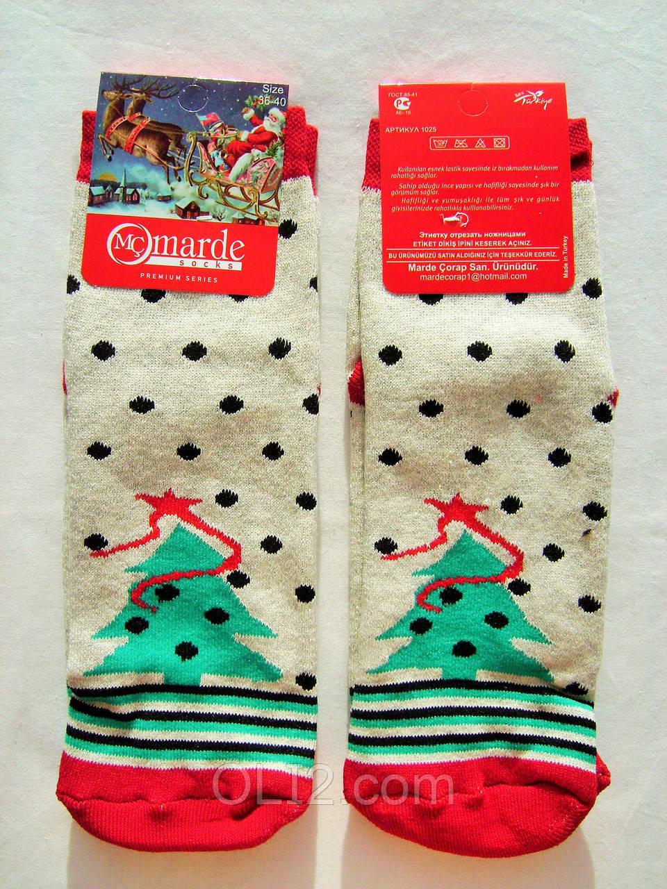 Женски носки новогодние рождественские на подарок махровые под елку