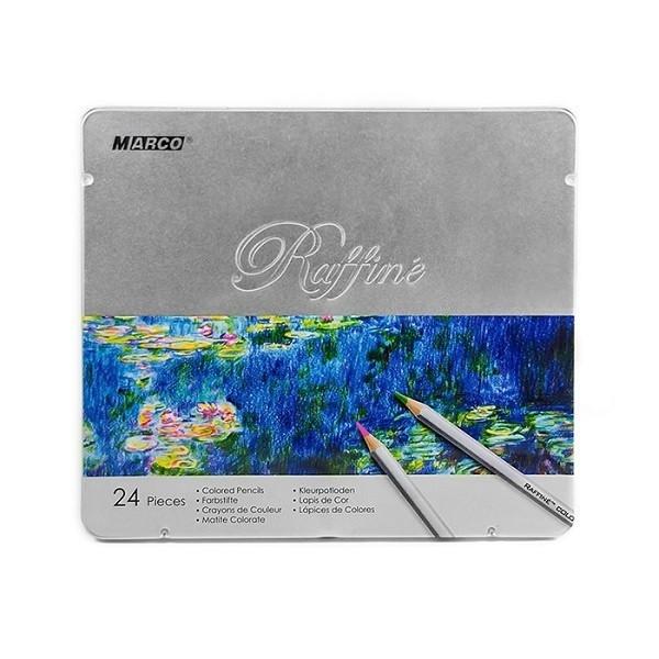 "Карандаши ""Marco"" 24 цвета №7100TN металлическая коробка Raffine"
