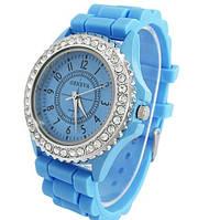 Cтильные женские часы Geneva Luxury Crystal , голубые, силиконовый ремешок