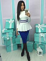 Женское стильное платье-баска (4 цвета)