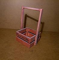 Ящик деревянный с ручкой под цветы (кашпо), розовый, 15,5х14х25 см, фото 1