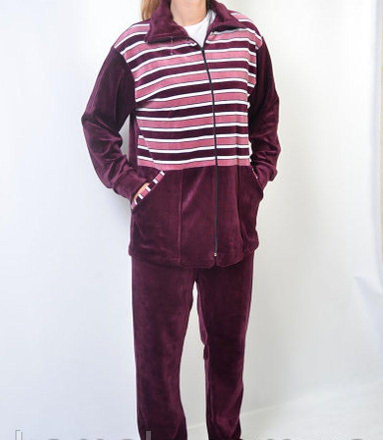 Женский велюровый костюм  в полоску 54-18
