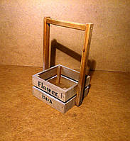 Ящик деревянный с ручкой под цветы (кашпо), бежевый, 15,5х14х25 см, фото 1