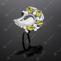 Серебряное кольцо с хризолитом. Артикул П-170