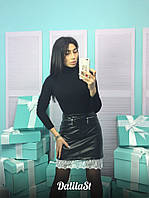 Женская стильная юбка из эко-кожи с кружевом, фото 1