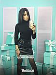 Женская стильная юбка из эко-кожи с кружевом, фото 2