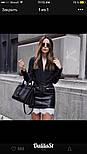Женская стильная юбка из эко-кожи с кружевом, фото 3