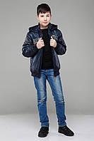 Утепленная весенняя детская куртка для мальчика темно-синяя
