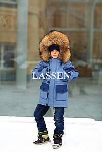 Парка детская с мехом финского енота L128
