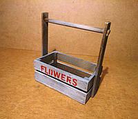 Ящик деревянный с ручкой под цветы, серый с коричневым, 22х12х23 см, фото 1