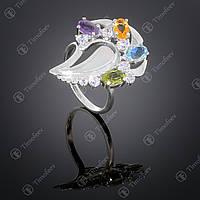 Серебряное кольцо с самоцветами. Артикул П-170