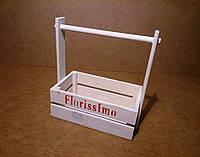 Ящик деревянный с ручкой под цветы, белый, 22х12х23 см, фото 1