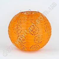 Подвесной фонарик ажурный, оранжевый, 25 см