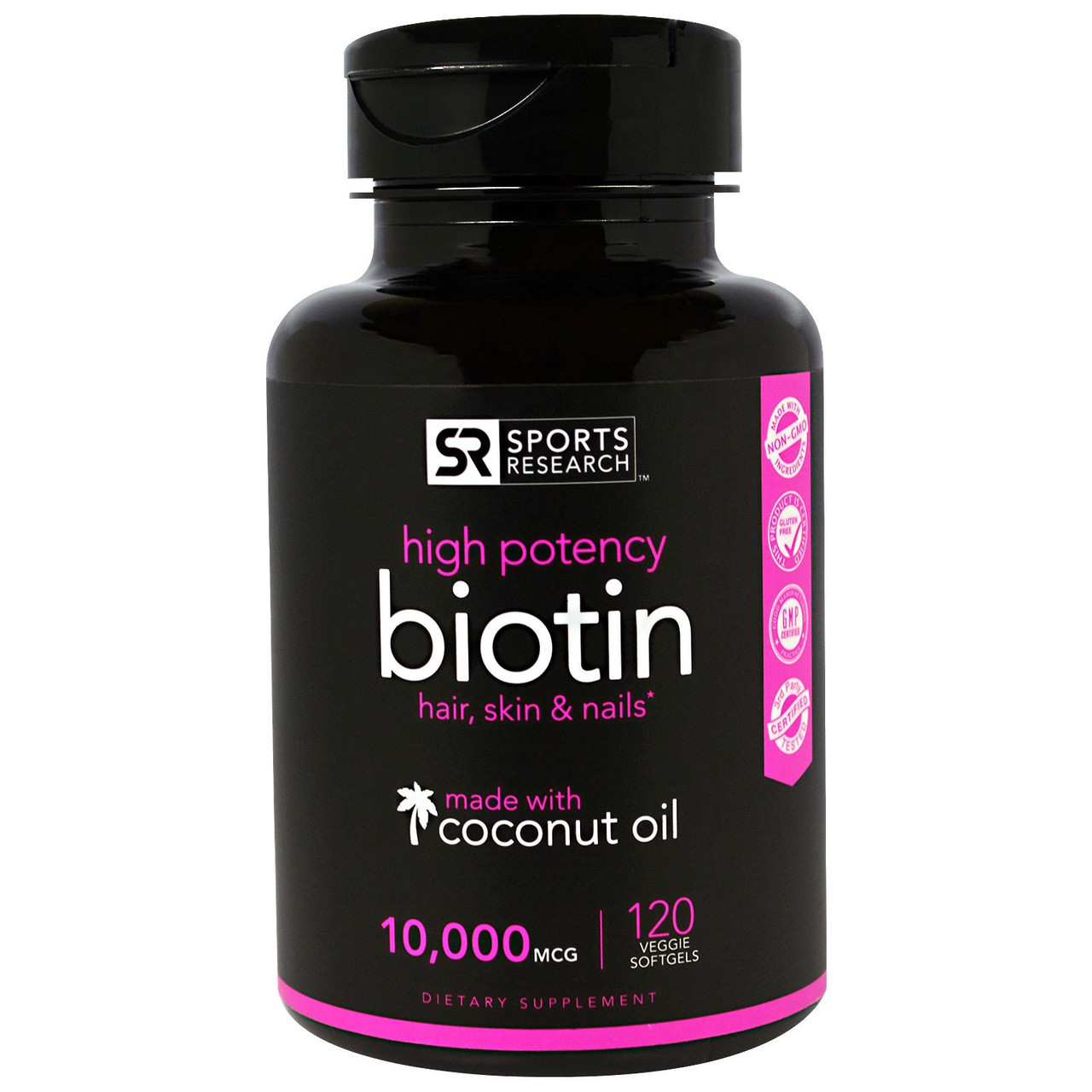 Биотин, Sports Research, 10000 мкг, 120 гелевых капсул