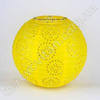 Подвесной фонарик ажурный, желтый, 25 см
