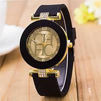 Cтильные женские часы в стиле Сarolina Нerrera , силиконовый ремешок , черные