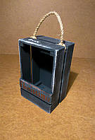 Ящик деревянный с ручкой под цветы, темно-серый, 13х10х20 см