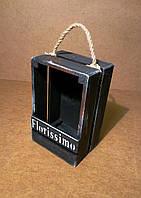Ящик деревянный с ручкой под цветы, черный, 13х10х20 см