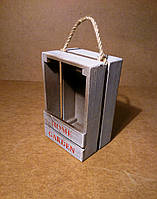 Ящик деревянный с ручкой под цветы, белый с коричневым, 13х10х20 см