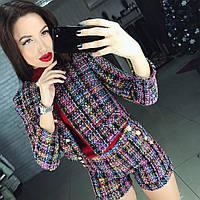 """Женский модный твидовый костюм """"Chanel"""": пиджак и шорты"""