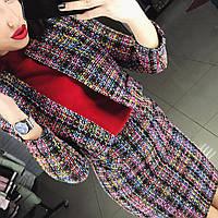 """Женский стильный твидовый костюм """"Chanel"""": пиджак и юбка"""