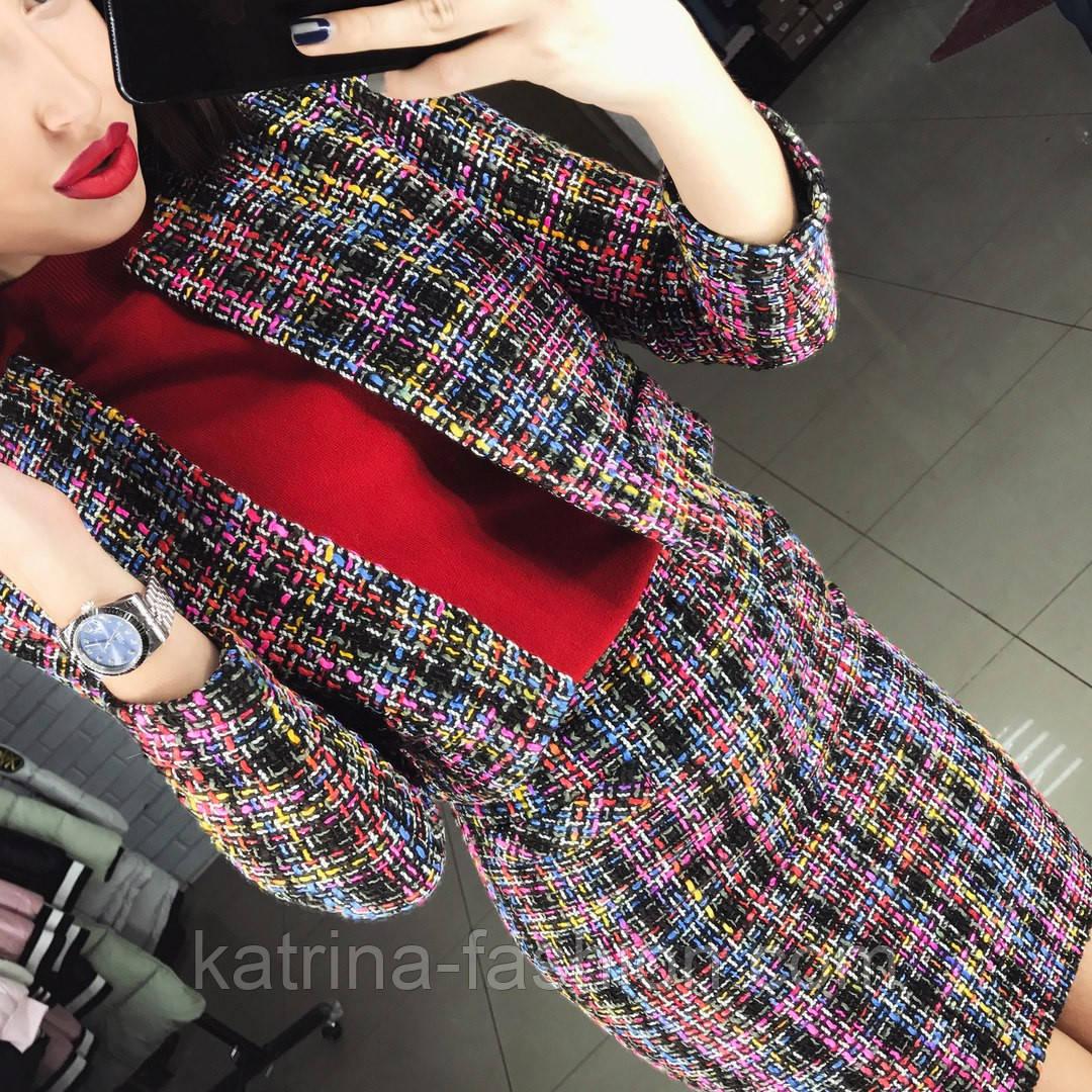 1233aa603575 Женский стильный твидовый костюм  пиджак и юбка - KATRINA FASHION - оптовый  интернет-магазин