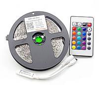 Очень яркая! Светодиодная лента (в силиконе) RGB 5050 5м+пульт+контроллер+блок питания, LED лента многоцветная, Скидки