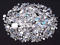 Набор граненных бусин белый кристалл 50 гр.