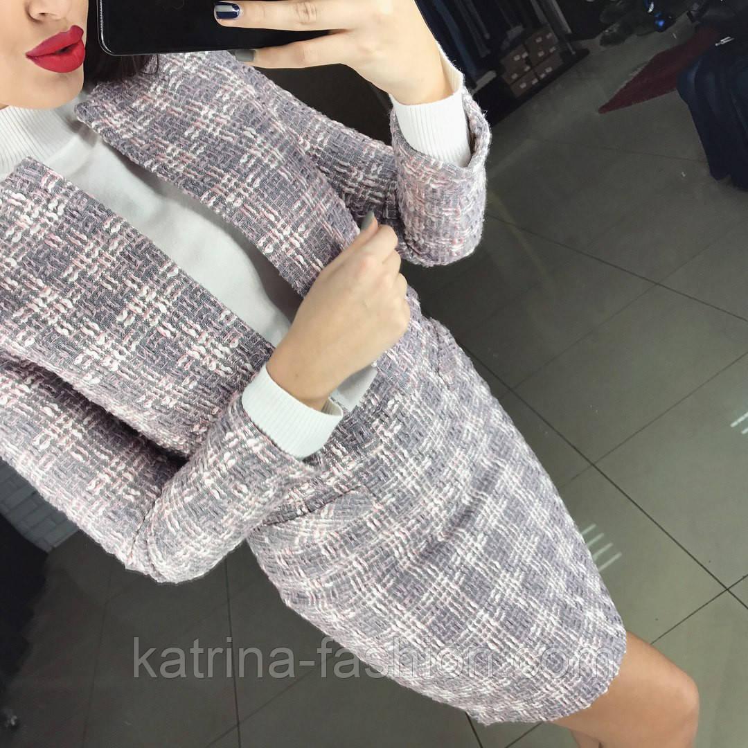 ace6216488b8 Женский стильный твидовый костюм  пиджак и юбка (в расцветках) - KATRINA  FASHION -