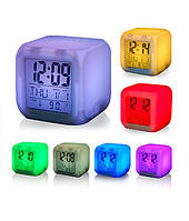 Настольные часы - будильник - ночник хамелеон (меняющий цвета) с термометром, Скидки