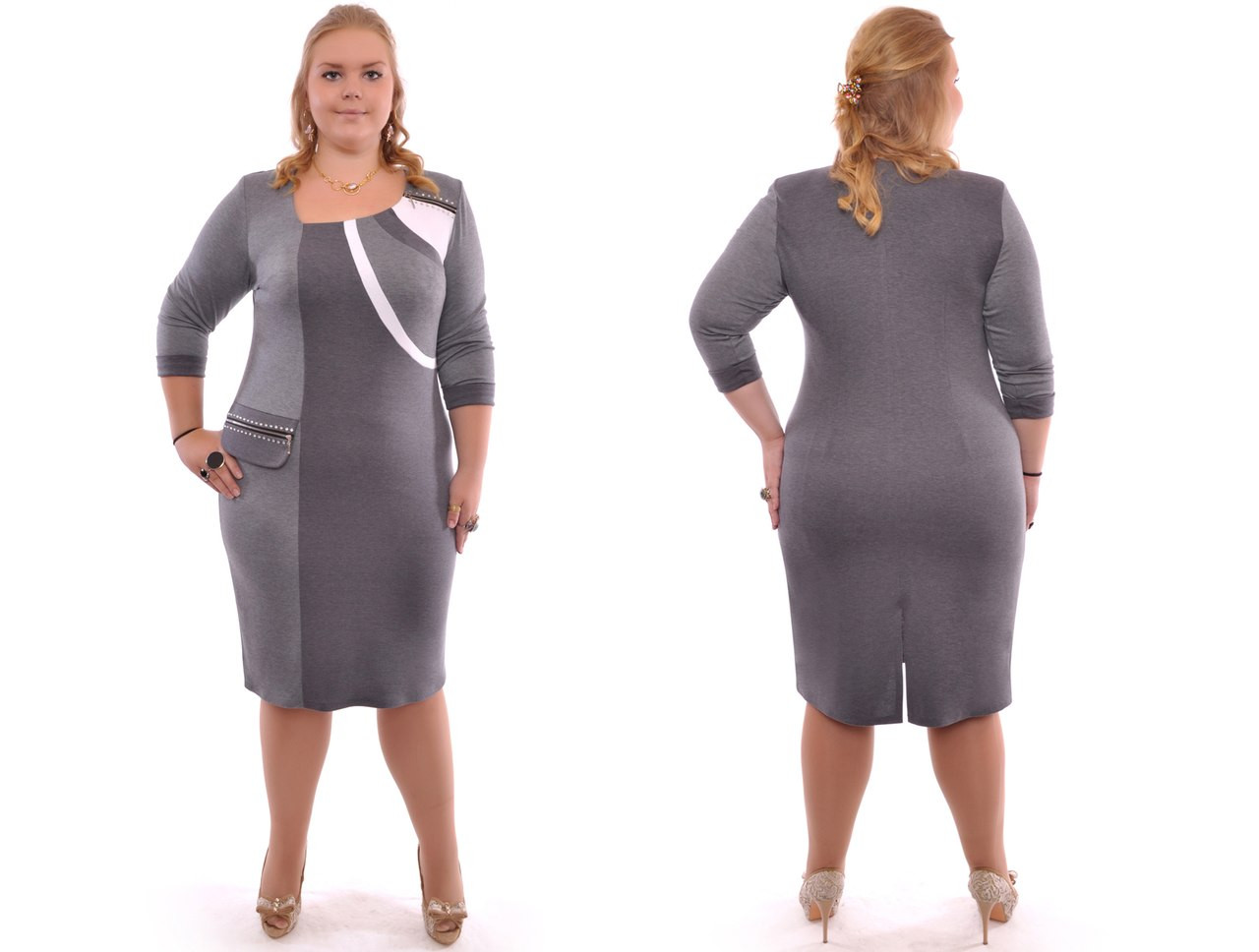 Платье стильное батал из трикотажа