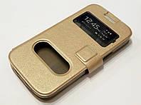 Чехол книжка с окошками Samsung Galaxy Ace 2 i8160 gold