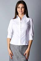 Белая хлопковая рубашка с декоративной кокеткой Р75, фото 1
