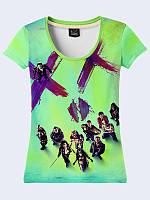 Креативная женская футболка Film Suicide Squad с красочным рисунком из легкой ткани на лето.